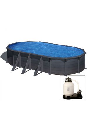 GRANADA 730 x 375 x h 132 - filtro SABBIA - Piscina fuoriterra rigida in acciaio fantasia GRAFITE Dream Pool - Grè