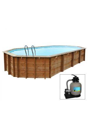 SEVILLA 823 x 423 x h 142 - filtro a SABBIA - piscina fuori terra in legno sistema ad incastro - Gré
