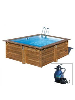CARRA 267 x 267 x h 116 - filtro a SABBIA - piscina fuori terra QUADRATA in legno sistema ad incastro - Gré