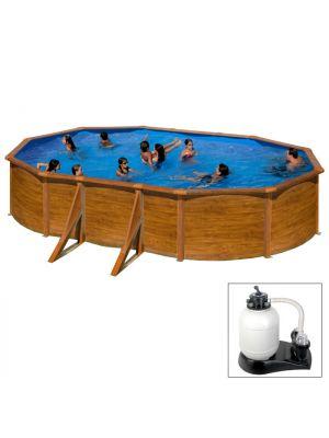 MAURITIUS 500 x 300 x h 132 - filtro SABBIA - Piscina fuoriterra rigida in acciaio fantasia legno Dream Pool - Grè
