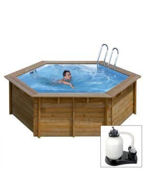 VANILLE ø 360 x h 121 - filtro SABBIA - piscina fuori terra in legno sistema omega - Gré