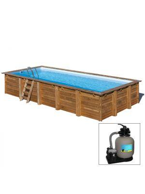 CARDAMON 1163 x 352 x h 142 - filtro a SABBIA - piscina fuori terra RETTANGOLARE in legno sistema ad incastro - Gré