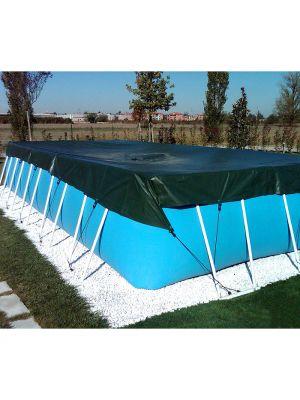 Telo di copertura invernale 4,00 x 4,50 m per piscina fuoriterra in pvc 2,60 x 3,55 m